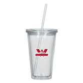 Madison Double Wall Clear Tumbler w/Straw 16oz-Interlocking W Mountaineers - Official Logo