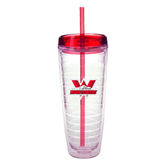 Tritan Double Wall Tumbler w/Red Top 26oz-Interlocking W Mountaineers - Official Logo