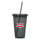 Madison Double Wall Charcoal Tumbler w/Straw 16oz-Interlocking W Mountaineers - Official Logo