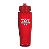 Spectrum Red Sport Bottle 28oz-Interlocking W Mountaineers - Official Logo