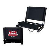 Stadium Chair Black-Interlocking W Mountaineers - Official Logo