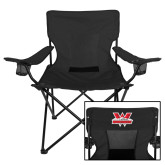Deluxe Black Captains Chair-Interlocking W Mountaineers - Official Logo