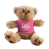 Plush Big Paw 8 1/2 inch Brown Bear w/Pink Shirt-Interlocking W Mountaineers - Official Logo