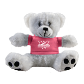 Plush Big Paw 8 1/2 inch White Bear w/Pink Shirt-Interlocking W Mountaineers - Official Logo
