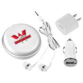 3 in 1 White Audio Travel Kit-Interlocking W Mountaineers - Official Logo
