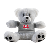 Plush Big Paw 8 1/2 inch White Bear w/Grey Shirt-W Western