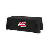 Black 6 foot Table Throw-Interlocking W Mountaineers - Official Logo