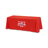 Red 6 foot Table Throw-Interlocking W Mountaineers - Official Logo
