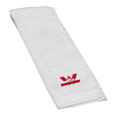 White Golf Towel-Interlocking W Mountaineers - Official Logo