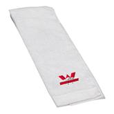 White Golf Towel-Interlocking W Mountaineers - Official Logo