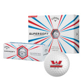 Callaway Supersoft Golf Balls 12/pkg-Interlocking W Mountaineers - Official Logo