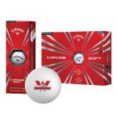 Callaway Chrome Soft Golf Balls 12/pkg-Interlocking W Mountaineers - Official Logo