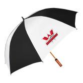 62 Inch Black/White Umbrella-Interlocking W Mountaineers - Official Logo