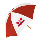 62 Inch Red/White Vented Umbrella-Interlocking W Mountaineers - Official Logo