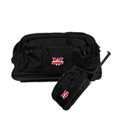 Urban Passage Wheeled Black Duffel-Interlocking W Mountaineers - Official Logo
