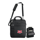 Kenneth Cole Black Vertical Checkpoint Friendly Messenger-Interlocking W Mountaineers - Official Logo