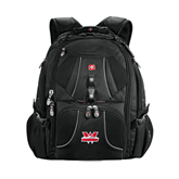 Wenger Swiss Army Mega Black Compu Backpack-Interlocking W Mountaineers - Official Logo