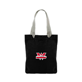 Allie Black Canvas Tote-Interlocking W Mountaineers - Official Logo