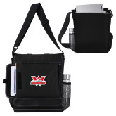 Impact Vertical Black Computer Messenger Bag-Interlocking W Mountaineers - Official Logo