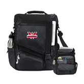 Momentum Black Computer Messenger Bag-Interlocking W Mountaineers - Official Logo