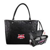Sophia Checkpoint Friendly Black Compu Tote-Interlocking W Mountaineers - Official Logo