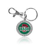 Crystal Studded Round Key Chain-Wash U w/Bear
