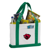 Contender White/Green Canvas Tote-Bear Head