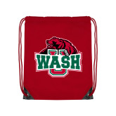 Red Drawstring Backpack-Wash U w/Bear