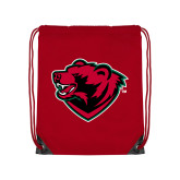 Red Drawstring Backpack-Bear Head