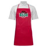 Full Length Red Apron-Wash U w/Bear