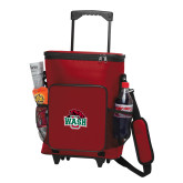 30 Can Red Rolling Cooler Bag-Wash U w/Bear