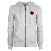 ENZA Ladies White Fleece Full Zip Hoodie-Bear Head
