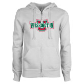 ENZA Ladies White Fleece Full Zip Hoodie-Washington U