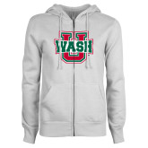 ENZA Ladies White Fleece Full Zip Hoodie-WashU