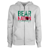 ENZA Ladies White Fleece Full Zip Hoodie-Bear Nation