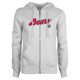 ENZA Ladies White Fleece Full Zip Hoodie-Bears Script