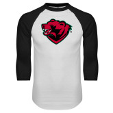 White/Black Raglan Baseball T Shirt-Bear Head