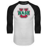 White/Black Raglan Baseball T Shirt-WashU