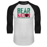 White/Black Raglan Baseball T Shirt-Bear Nation