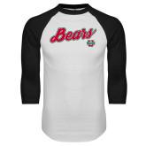 White/Black Raglan Baseball T Shirt-Bears Script