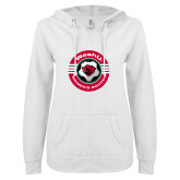 ENZA Ladies White V Notch Raw Edge Fleece Hoodie-Womens Soccer Design