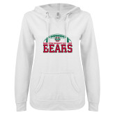 ENZA Ladies White V Notch Raw Edge Fleece Hoodie-Football Stacked