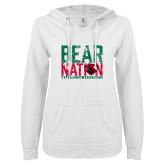 ENZA Ladies White V Notch Raw Edge Fleece Hoodie-Bear Nation