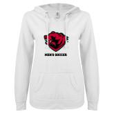 ENZA Ladies White V Notch Raw Edge Fleece Hoodie-Mens Soccer