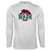 Performance White Longsleeve Shirt-Wash U w/Bear
