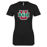 Next Level Ladies SoftStyle Junior Fitted Black Tee-WashU