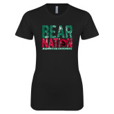 Next Level Ladies SoftStyle Junior Fitted Black Tee-Bear Nation