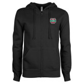 ENZA Ladies Black Fleece Full Zip Hoodie-WashU