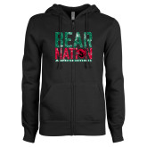 ENZA Ladies Black Fleece Full Zip Hoodie-Bear Nation