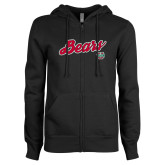 ENZA Ladies Black Fleece Full Zip Hoodie-Bears Script
